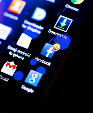 Close-up of Facebook notifications on a smartphone.